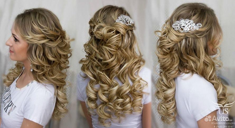 Прически на свадьбу для гостей на средние волосы фото кудри