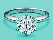Tiffany Setting платиновое кольцо с бриллиантами