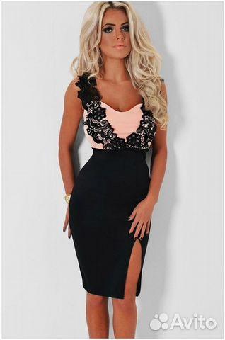 5d397dcbd20bb91 Платье до колена с кружевом розовое с черным   Festima.Ru ...