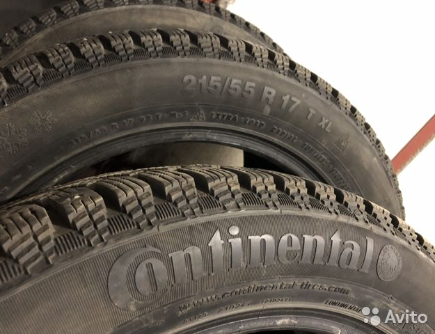 Зима. Шипы. Continental ContiIceContact 215/55 R17
