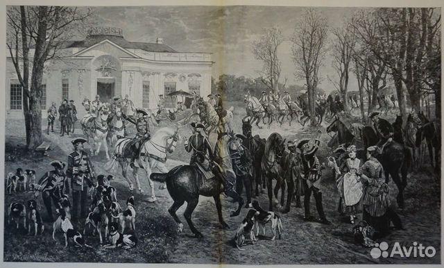 Старинная гравюра 1887 г. охота лошадь антиквариат купить 1