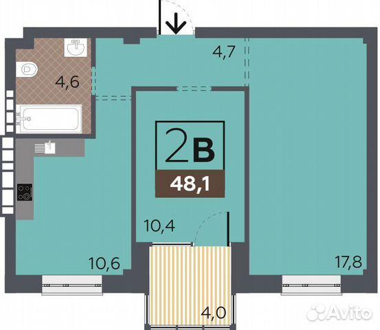 2-к квартира, 48.1 м², 2/6 эт. 88442604734 купить 1