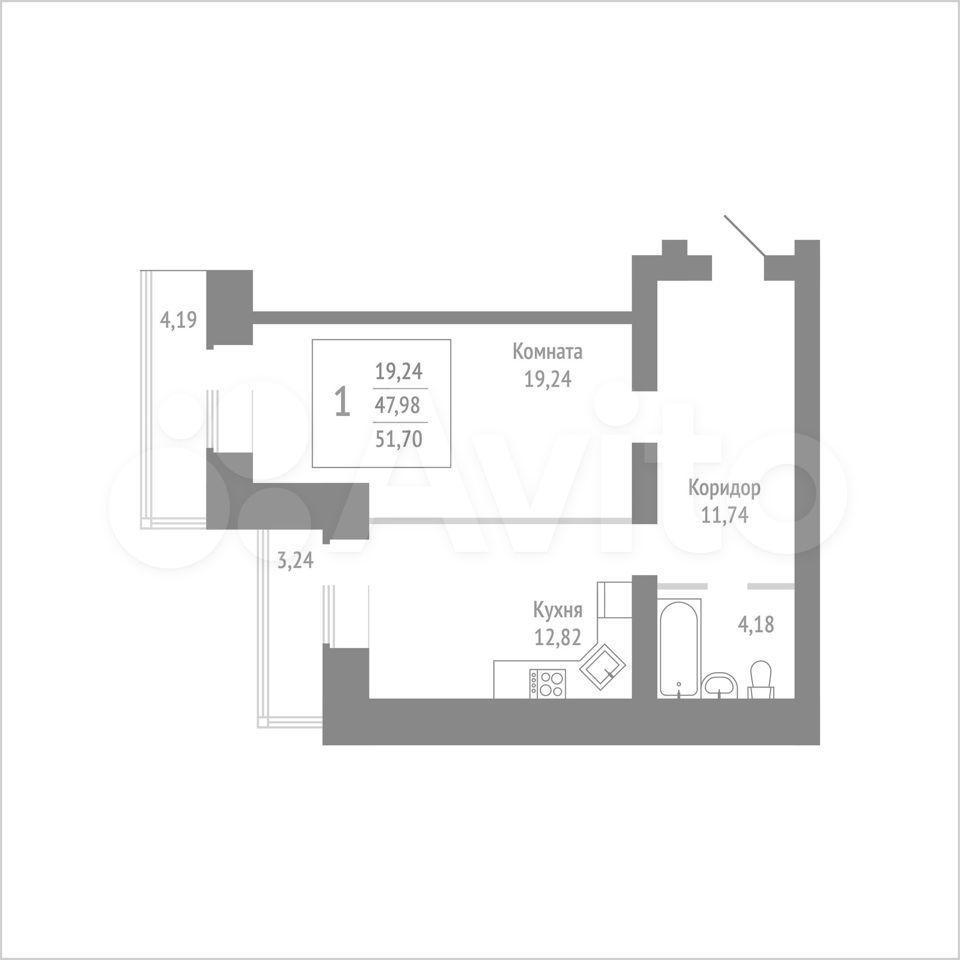 1-к квартира, 51.7 м², 11/14 эт.  89115506177 купить 1