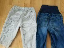 Брюки вельвет+джинсы HM 18 мес